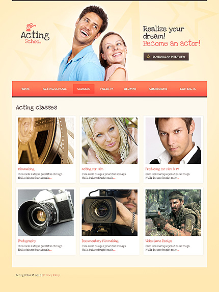 Template 37225 ( Classes Page ) ADOBE Photoshop Screenshot