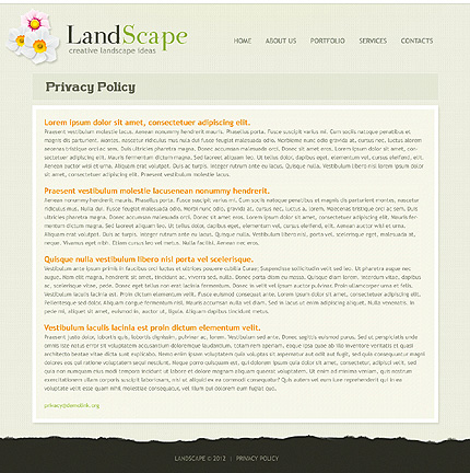 Template 37227 ( Privacy Policy Page ) ADOBE Photoshop Screenshot