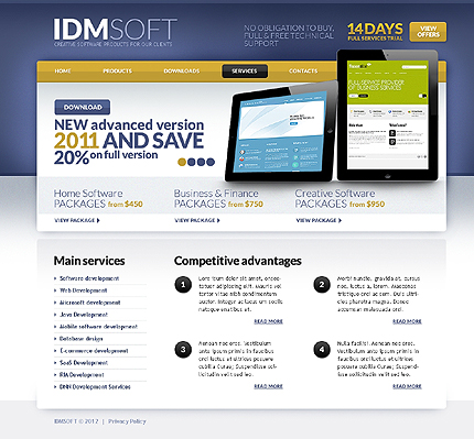 Template 37256 ( Services Page ) ADOBE Photoshop Screenshot