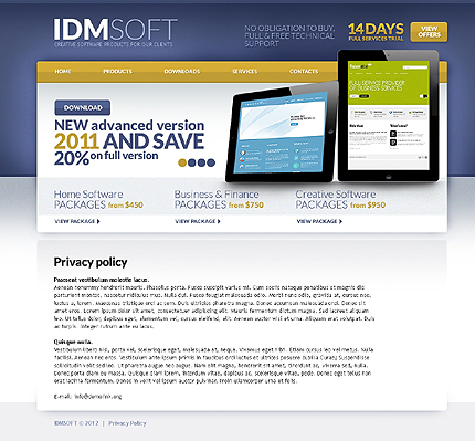 Template 37256 ( Privacy Policy Page ) ADOBE Photoshop Screenshot
