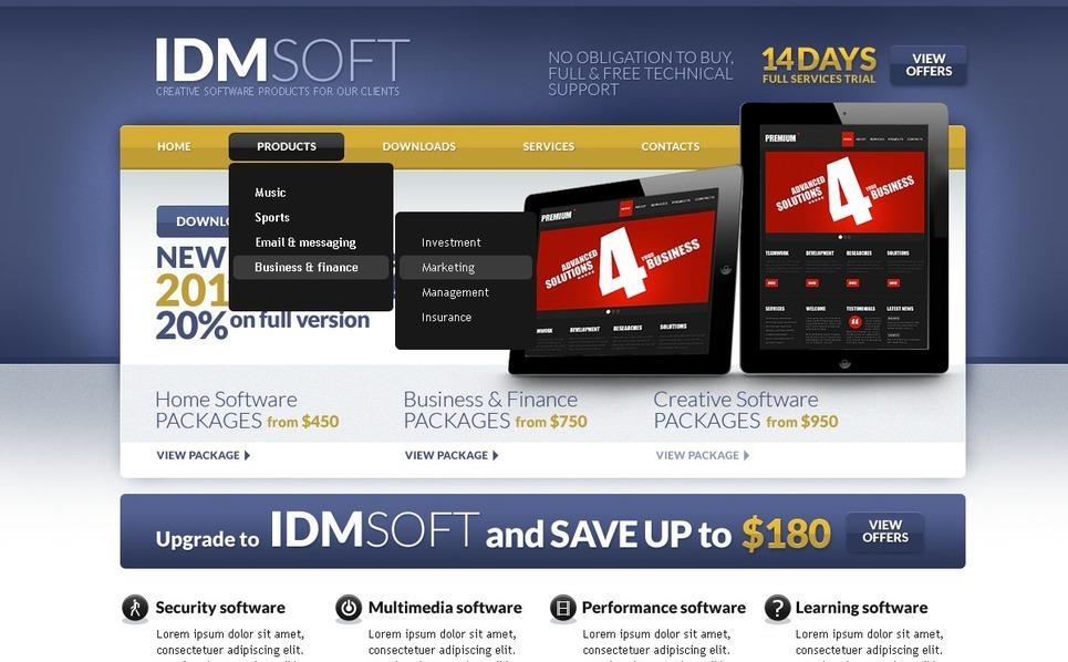 Шаблон сайту на тему програмне забезпечення New Screenshots BIG