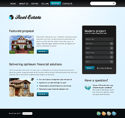 Template 37264 ( Renting Page ) ADOBE Photoshop Screenshot