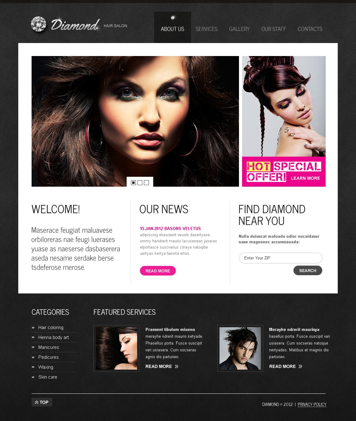 Hair salon website template 37224 hair salon website template urmus Images
