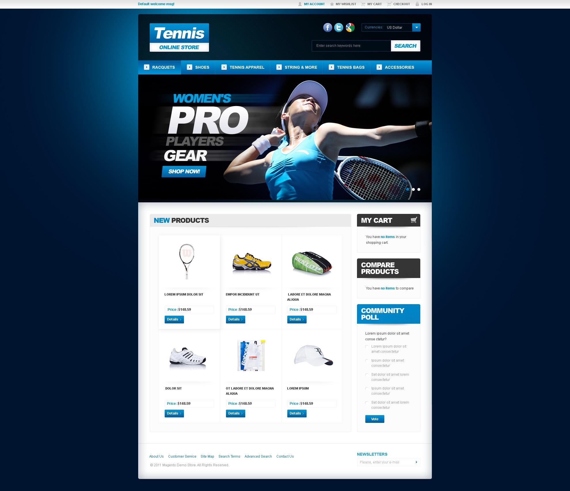 Tennis Magento Theme - screenshot