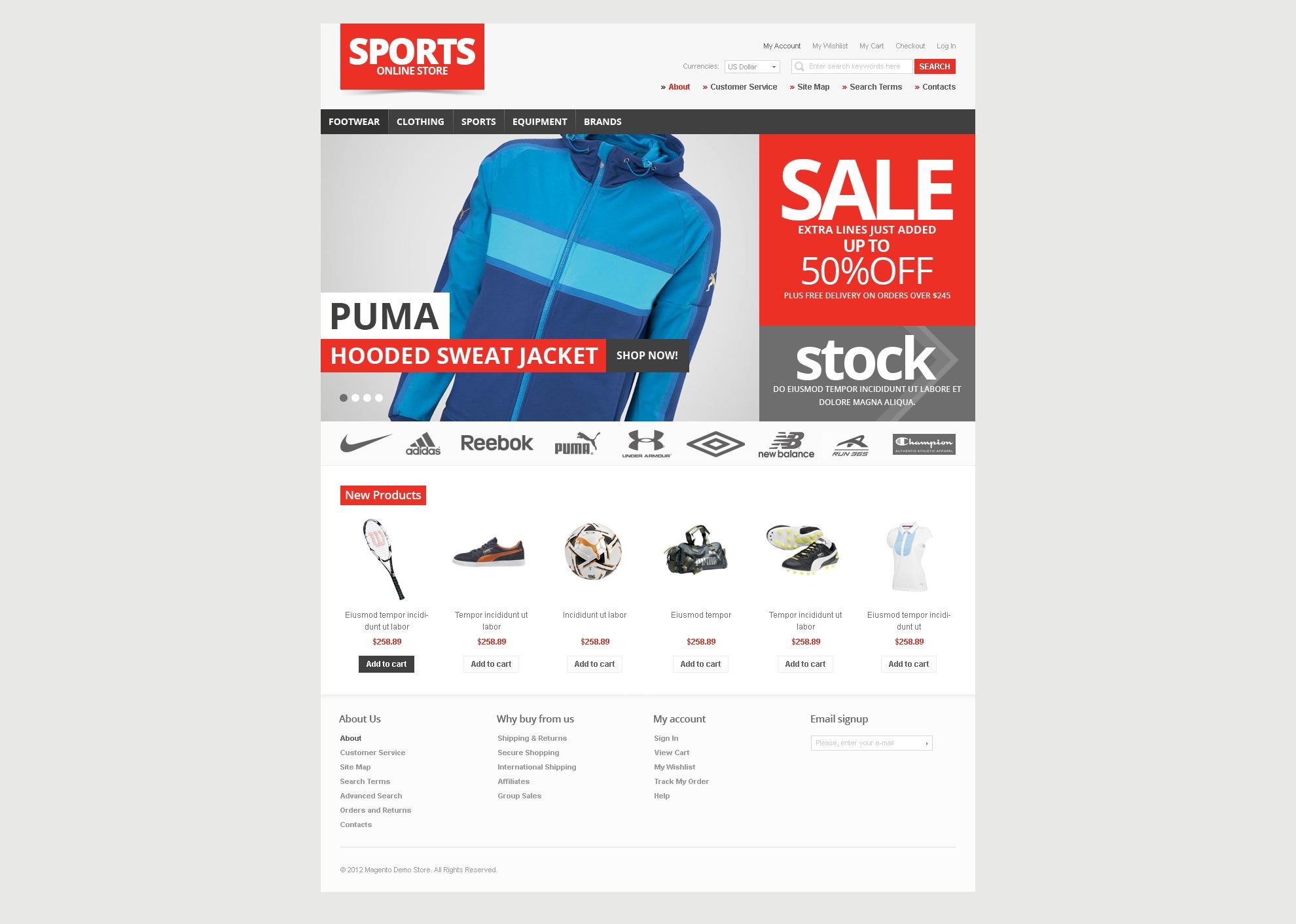 体育用品网店Magento模板 #37288 - 截图
