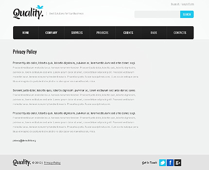 Template 37349 ( Privacy Policy Page ) ADOBE Photoshop Screenshot