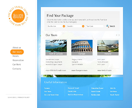 Template 37351 ( Our tours Page ) ADOBE Photoshop Screenshot