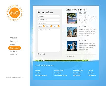 Template 37351 ( Reservation Page ) ADOBE Photoshop Screenshot