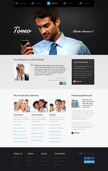 Template 37356 ( Solutions Page ) ADOBE Photoshop Screenshot