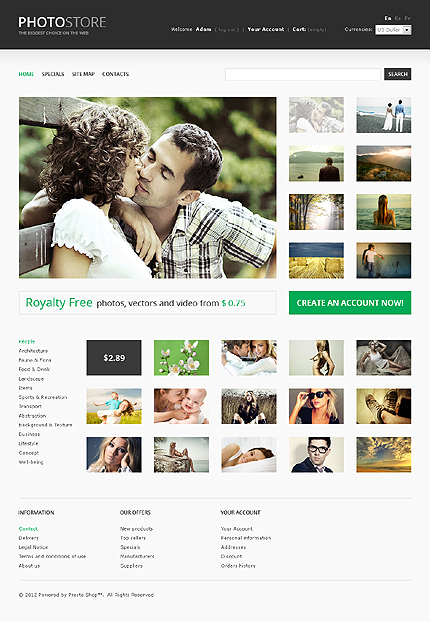 ADOBE Photoshop Template 37363 Home Page Screenshot