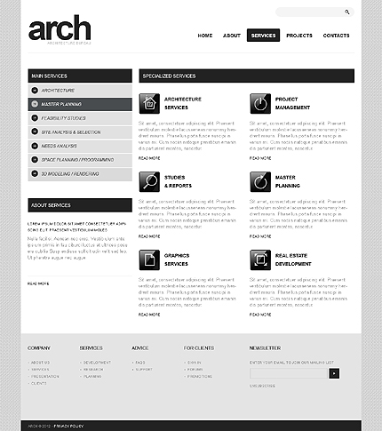 Template 37380 ( Services Page ) ADOBE Photoshop Screenshot