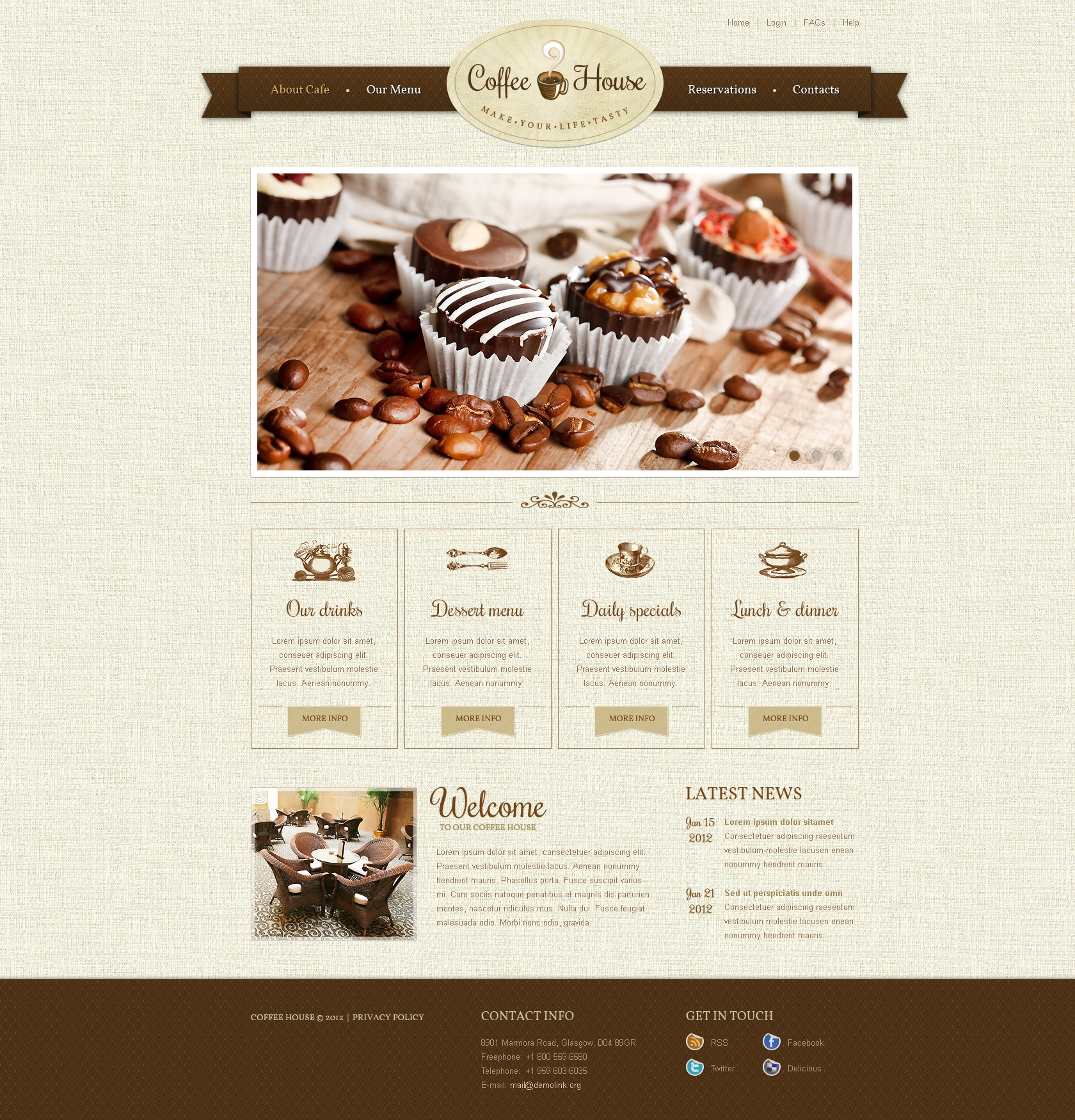 coffee shop website template 37376. Black Bedroom Furniture Sets. Home Design Ideas