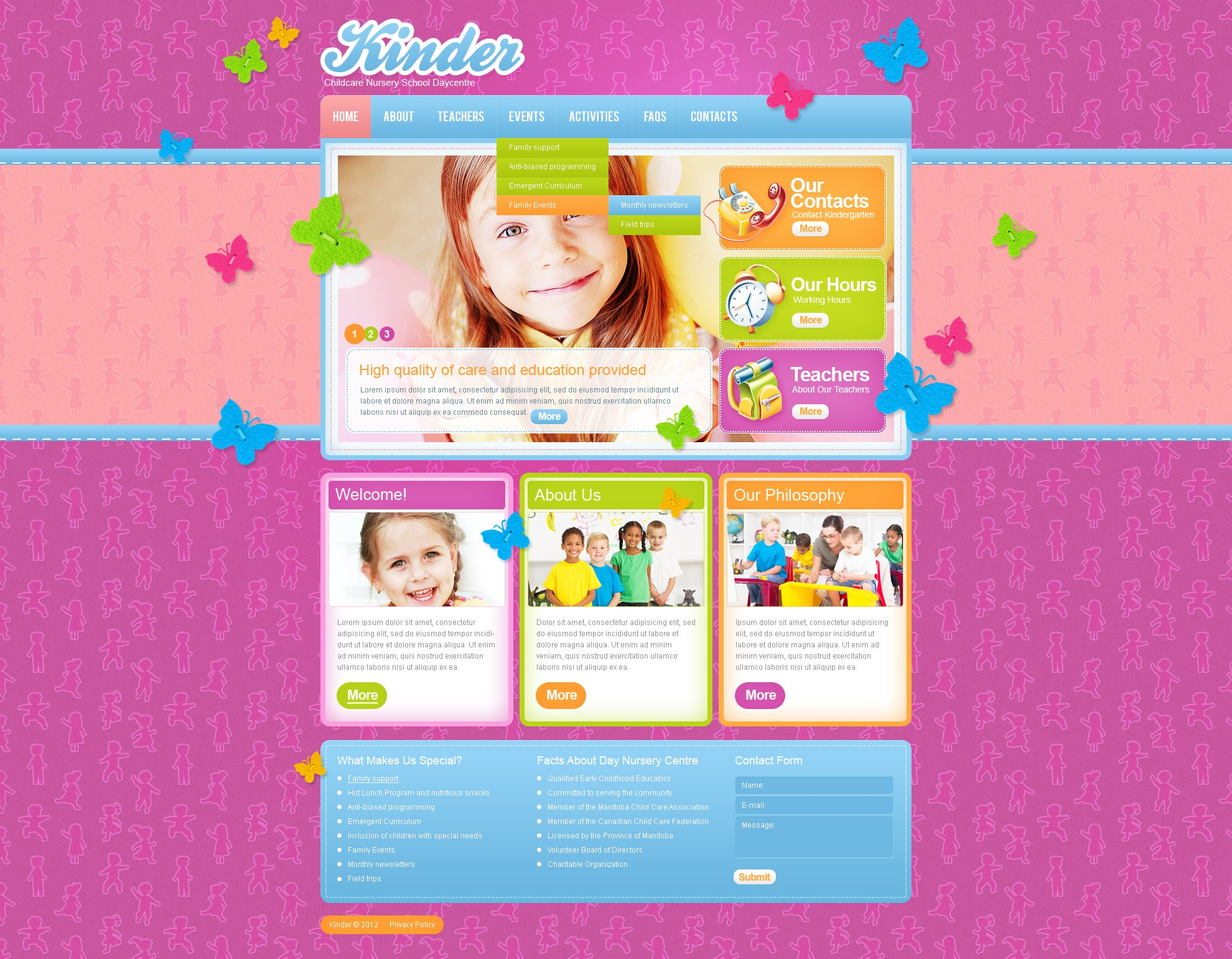 kids center website template 37345