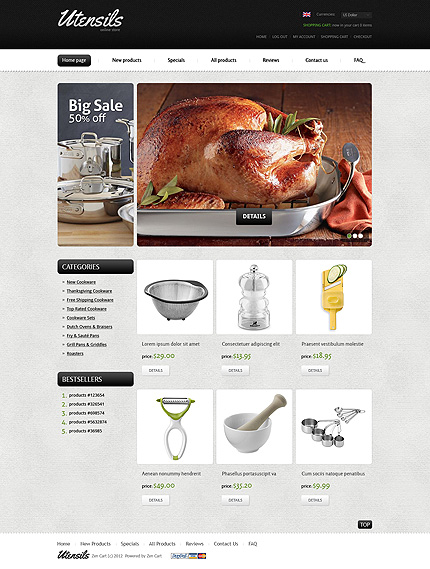ZenCart Template 37432 Main Page Screenshot