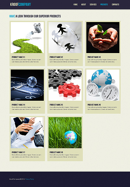 Template 37452 ( Products Page ) ADOBE Photoshop Screenshot