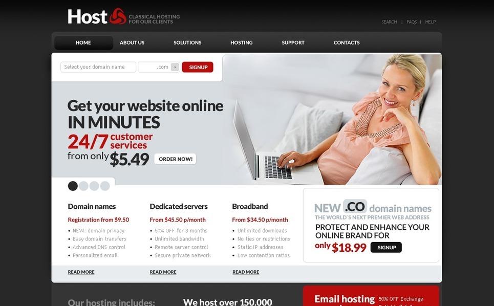 Šablona webových stránek Hosting New Screenshots BIG