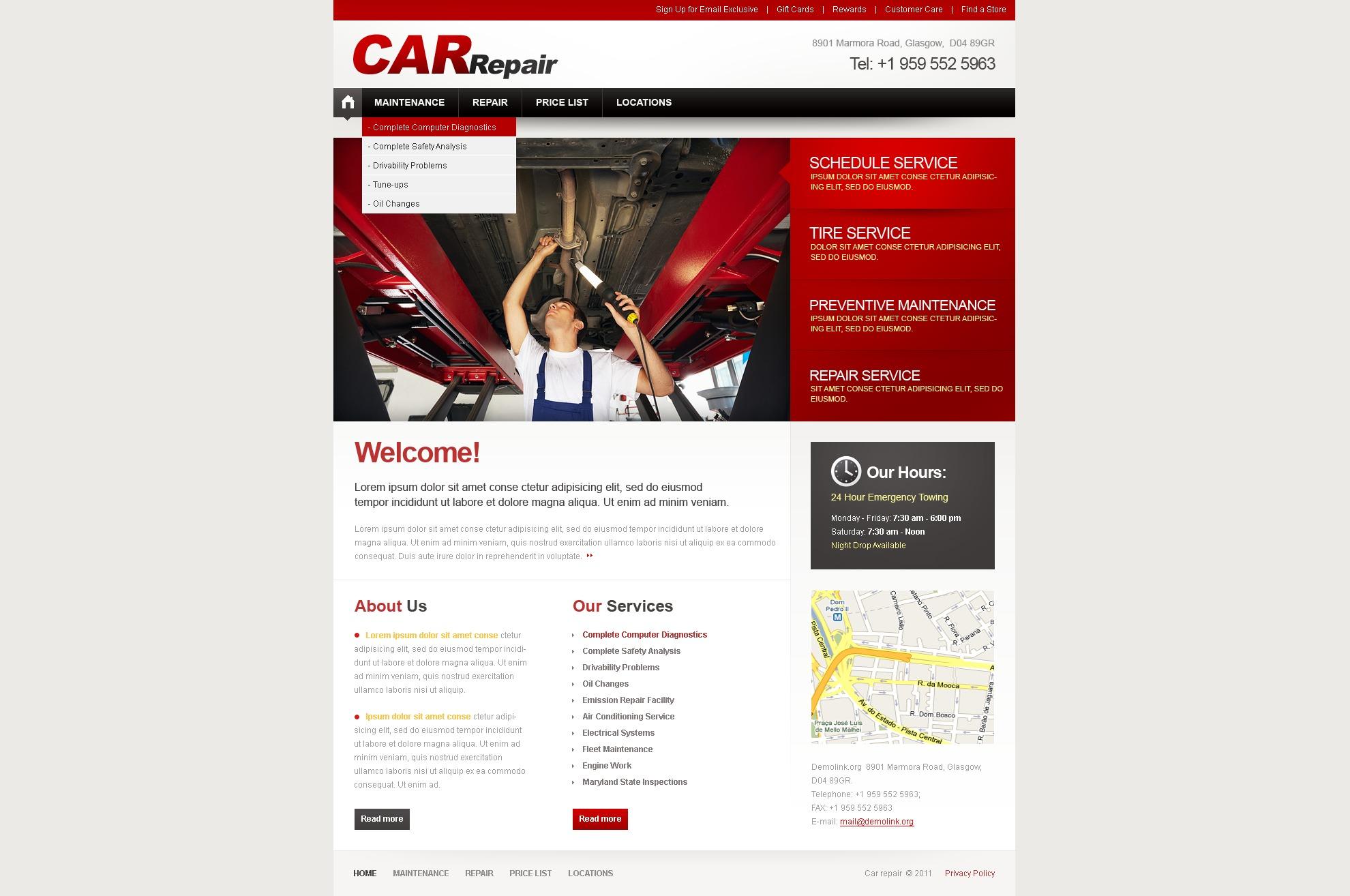 Modèle PSD pour site de réparation de voitures #37491