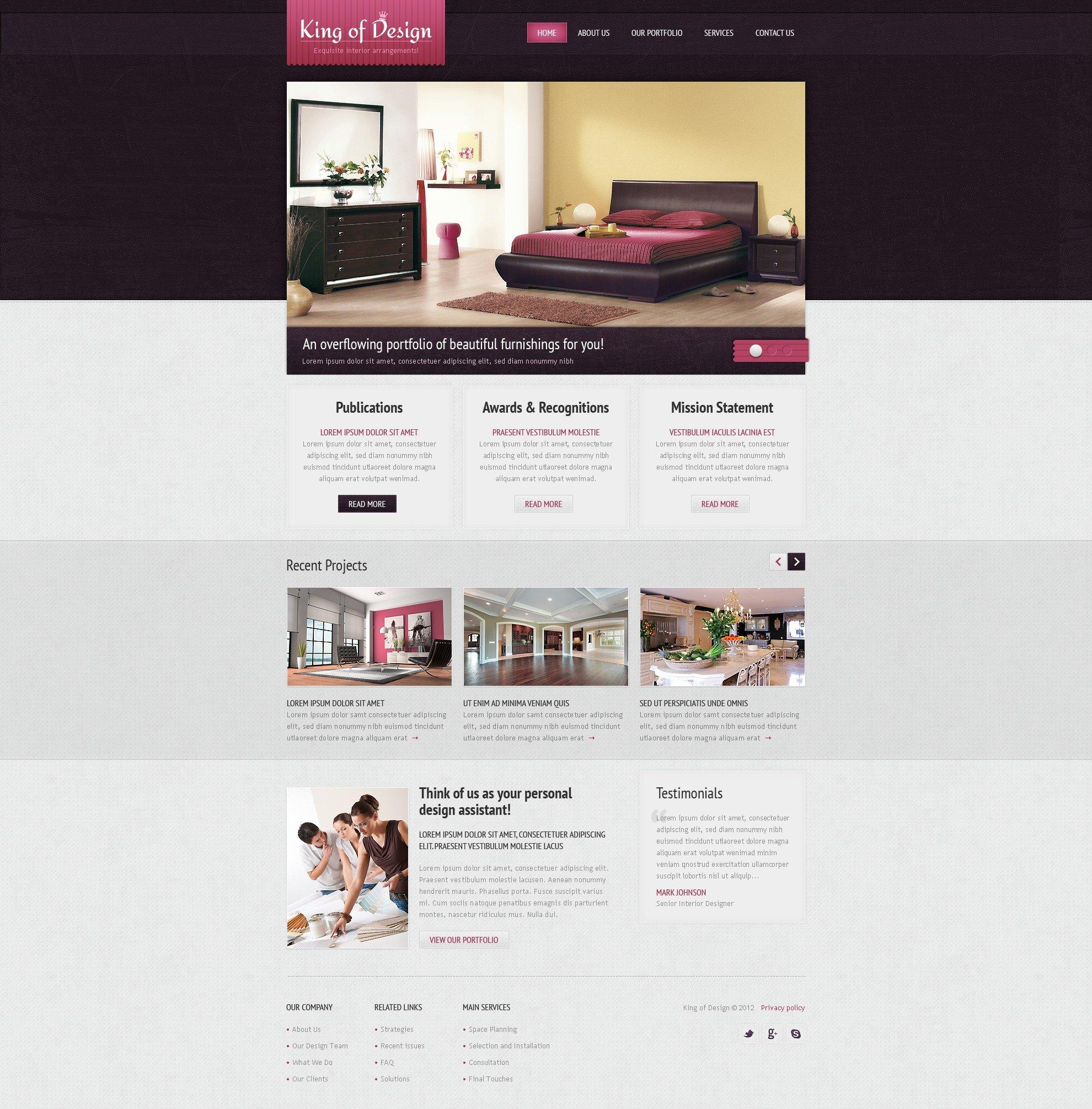 Template siti web 37460 per un sito di design di interni for Siti arredamento interni