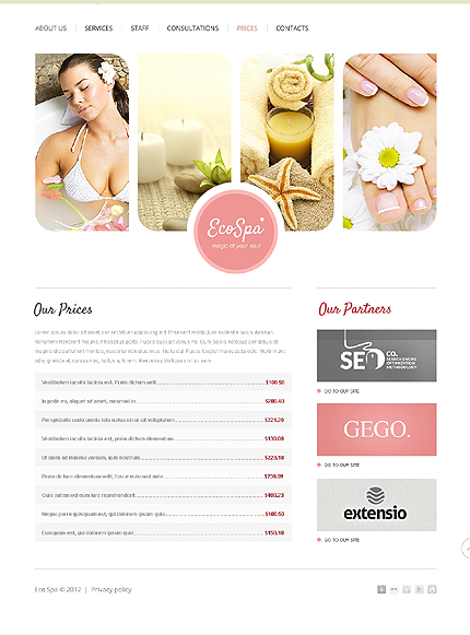 Template 37501 ( Prices Page ) ADOBE Photoshop Screenshot