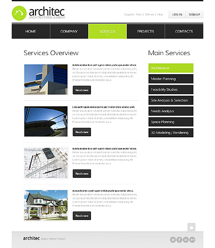 Template 37512 ( Services Page ) ADOBE Photoshop Screenshot