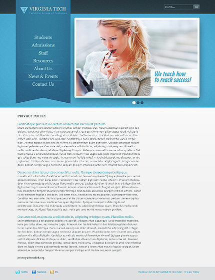 Template 37519 ( Privacy Policy Page ) ADOBE Photoshop Screenshot