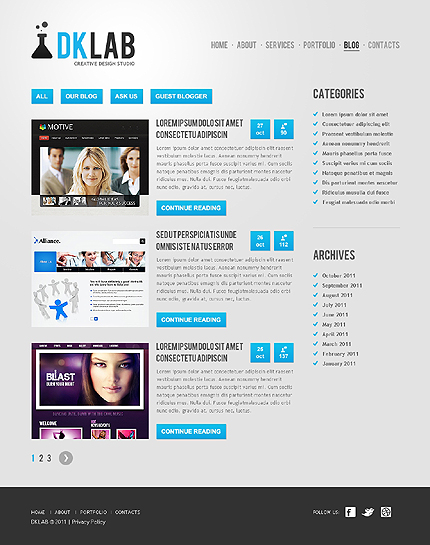 Template 37528 ( Blog Page ) ADOBE Photoshop Screenshot