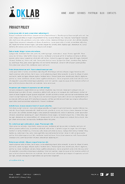 Template 37528 ( Privacy Policy Page ) ADOBE Photoshop Screenshot