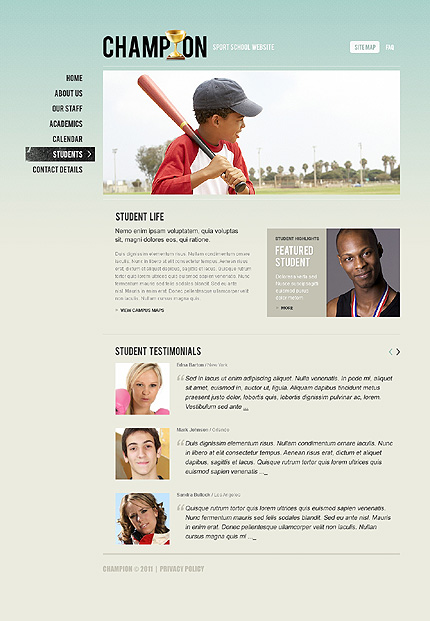 Template 37530 ( Students Page ) ADOBE Photoshop Screenshot