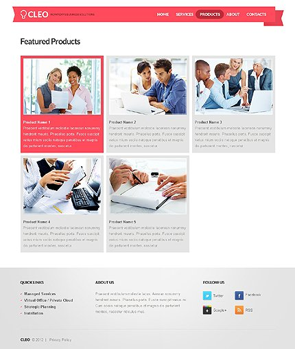 Template 37543 ( Products Page ) ADOBE Photoshop Screenshot