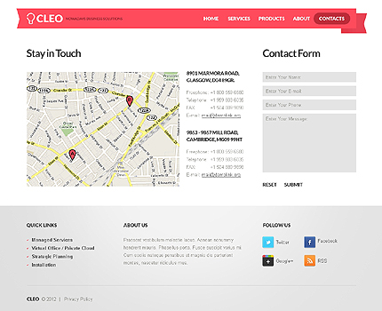 Template 37543 ( Contacts Page ) ADOBE Photoshop Screenshot