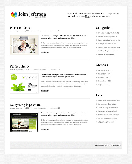 Template 37589 ( Blog Page ) ADOBE Photoshop Screenshot
