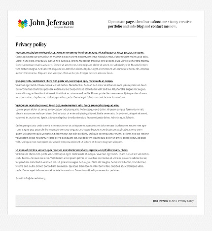 Template 37589 ( Privacy Policy Page ) ADOBE Photoshop Screenshot