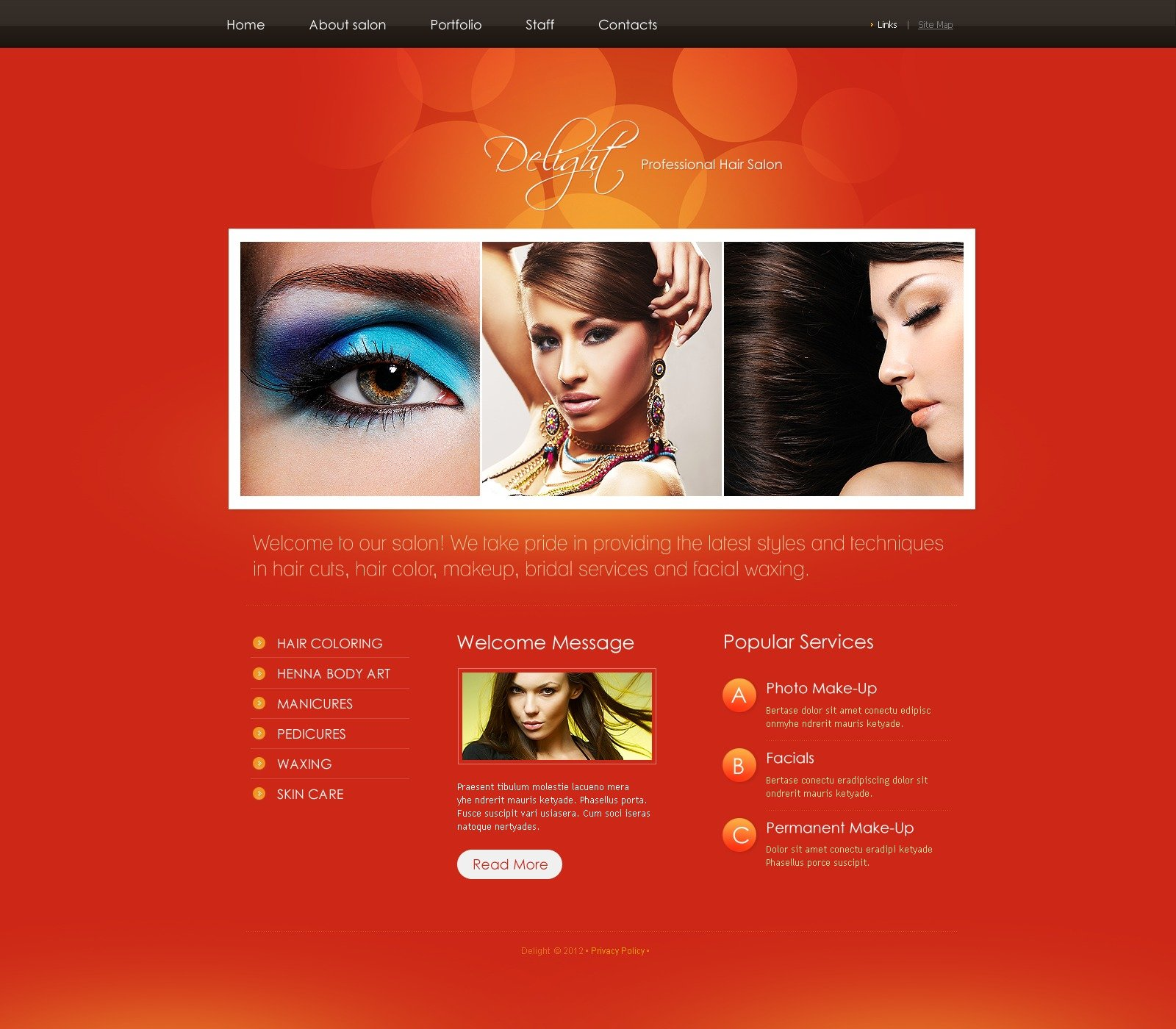 hair salon website template 37502