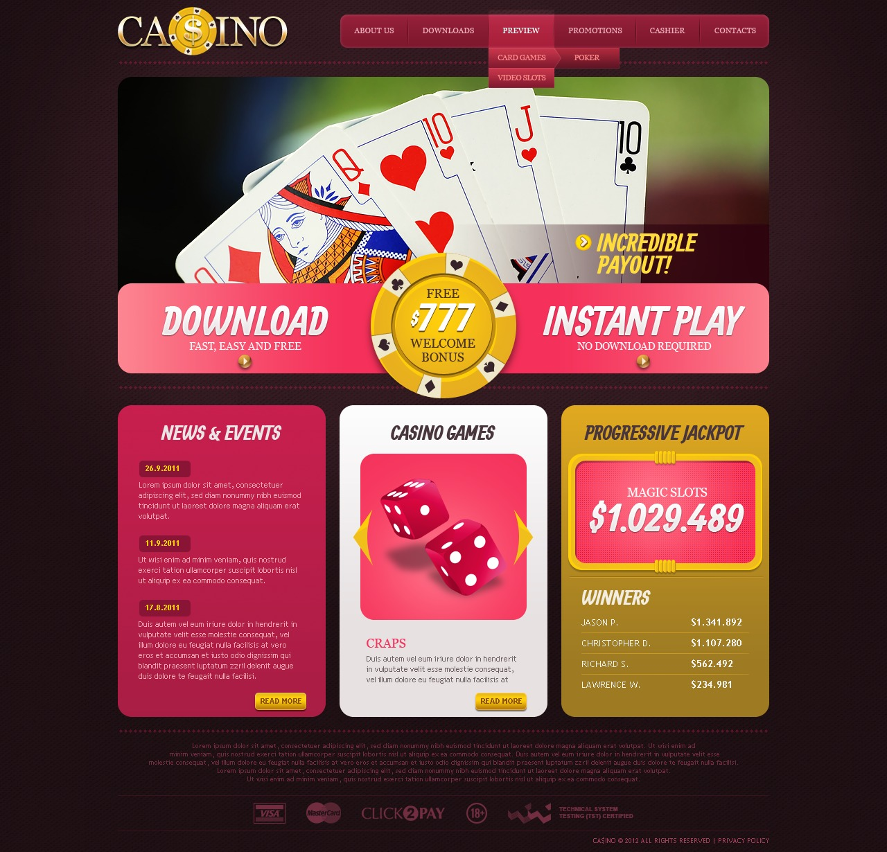网上赌场网页模板 #37533 - 截图