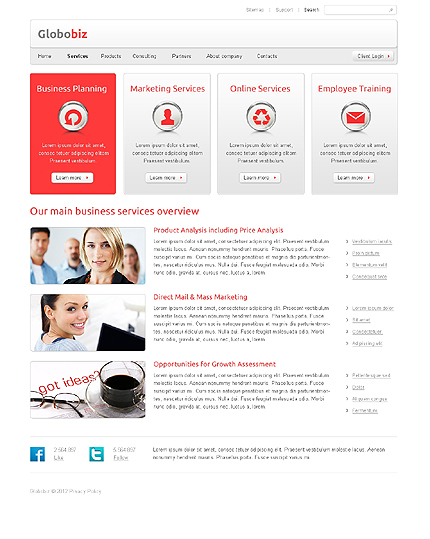Template 37654 ( Services Page ) ADOBE Photoshop Screenshot