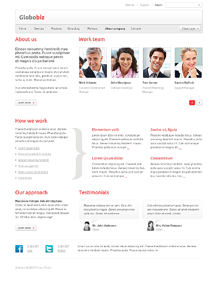 Template 37654 ( About company Page ) ADOBE Photoshop Screenshot