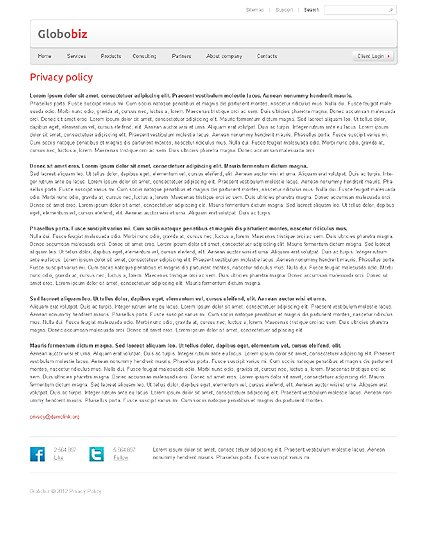 Template 37654 ( Privacy Policy Page ) ADOBE Photoshop Screenshot