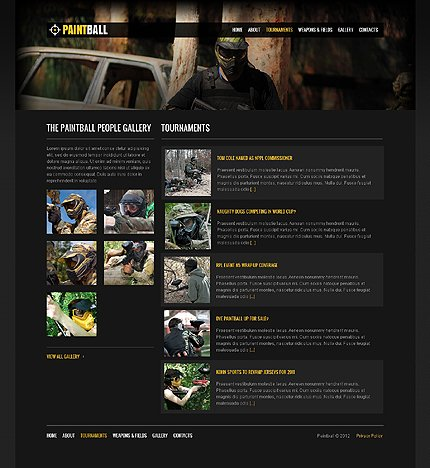 Template 37658 ( Tournaments Page ) ADOBE Photoshop Screenshot