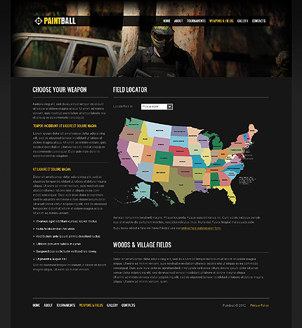 Template 37658 ( Weapons & Fields Page ) ADOBE Photoshop Screenshot