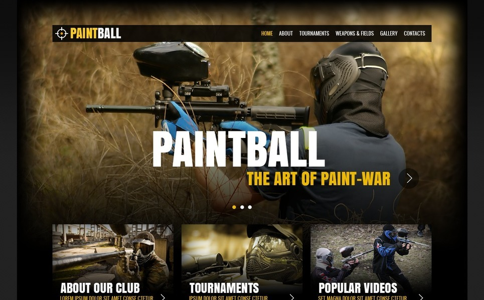 Paintball  Web Sitesi Şablonu New Screenshots BIG