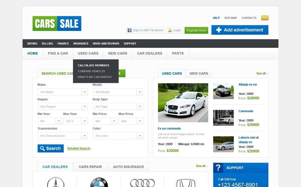 Template Photoshop  para Sites de Carro №37666 New Screenshots BIG