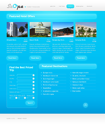Template 37680 ( Hotels Page ) ADOBE Photoshop Screenshot