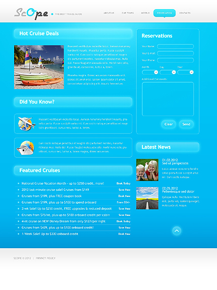 Template 37680 ( Reservation Page ) ADOBE Photoshop Screenshot