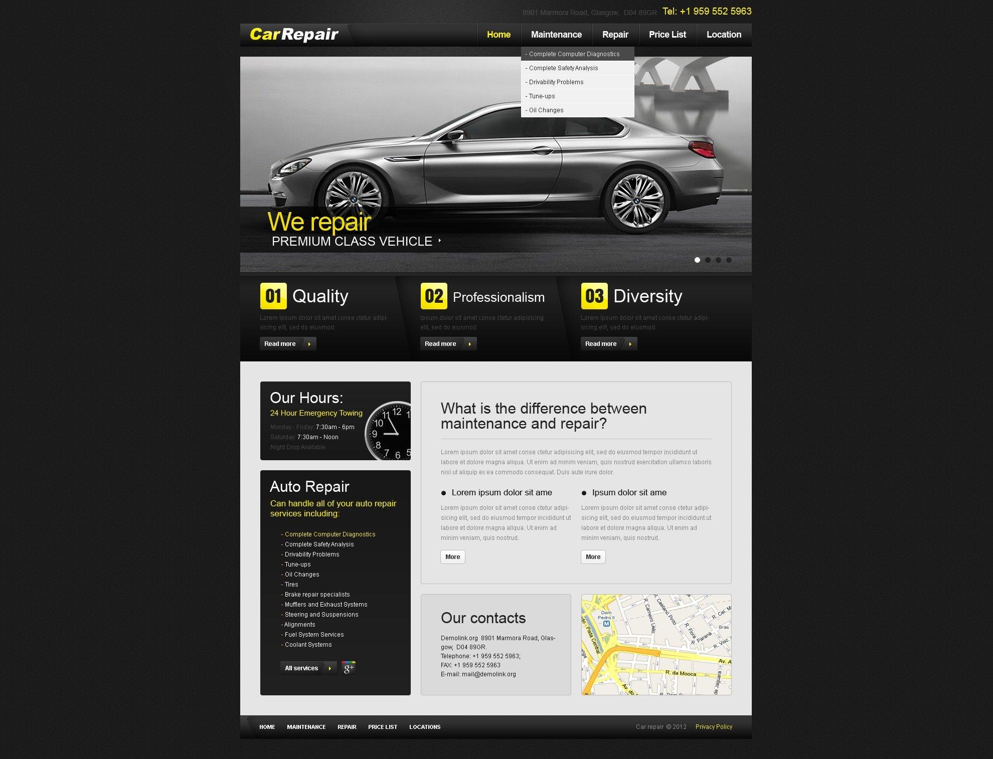 Car Repair PSD Template - screenshot