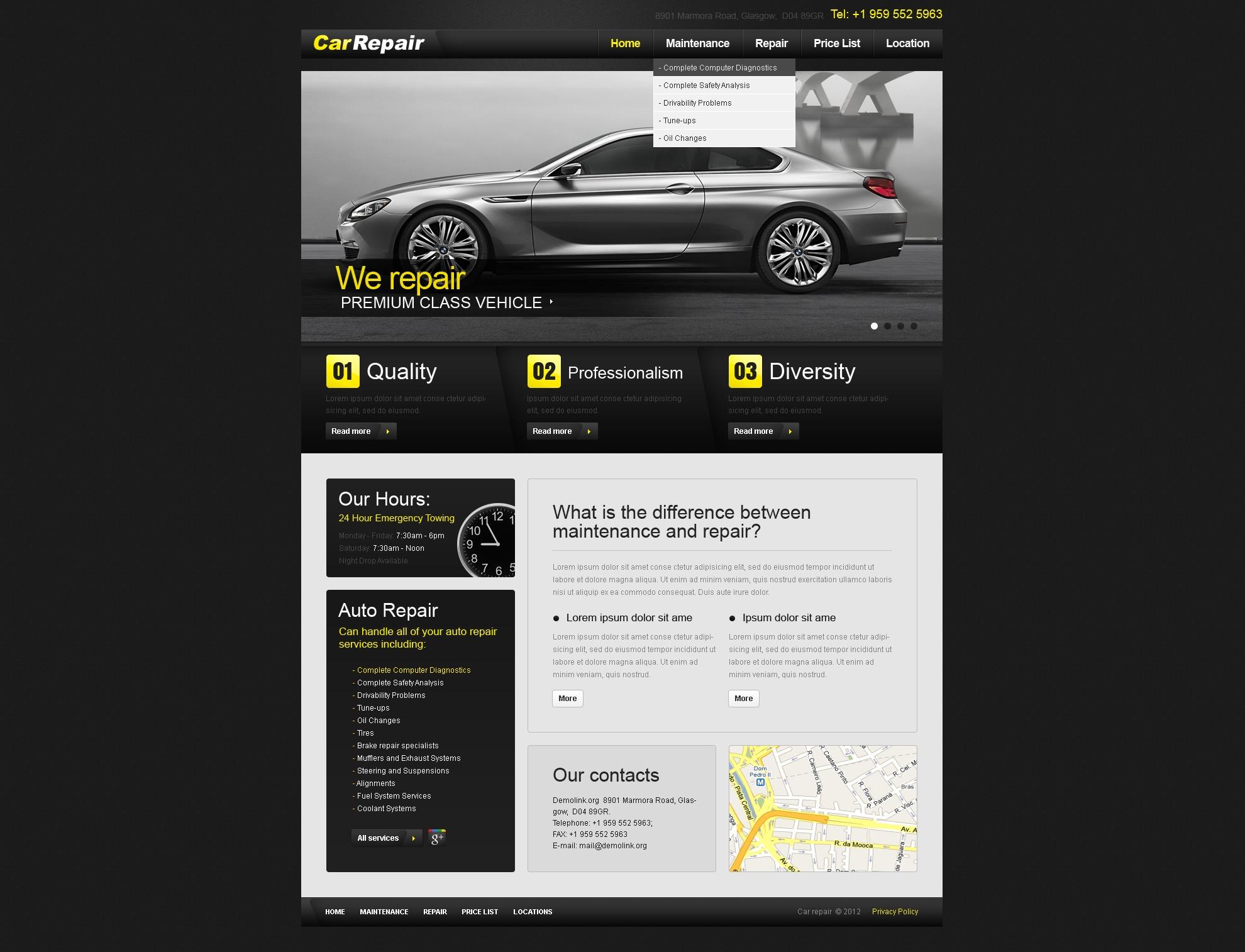 Modèle PSD pour site de réparation de voitures #37629
