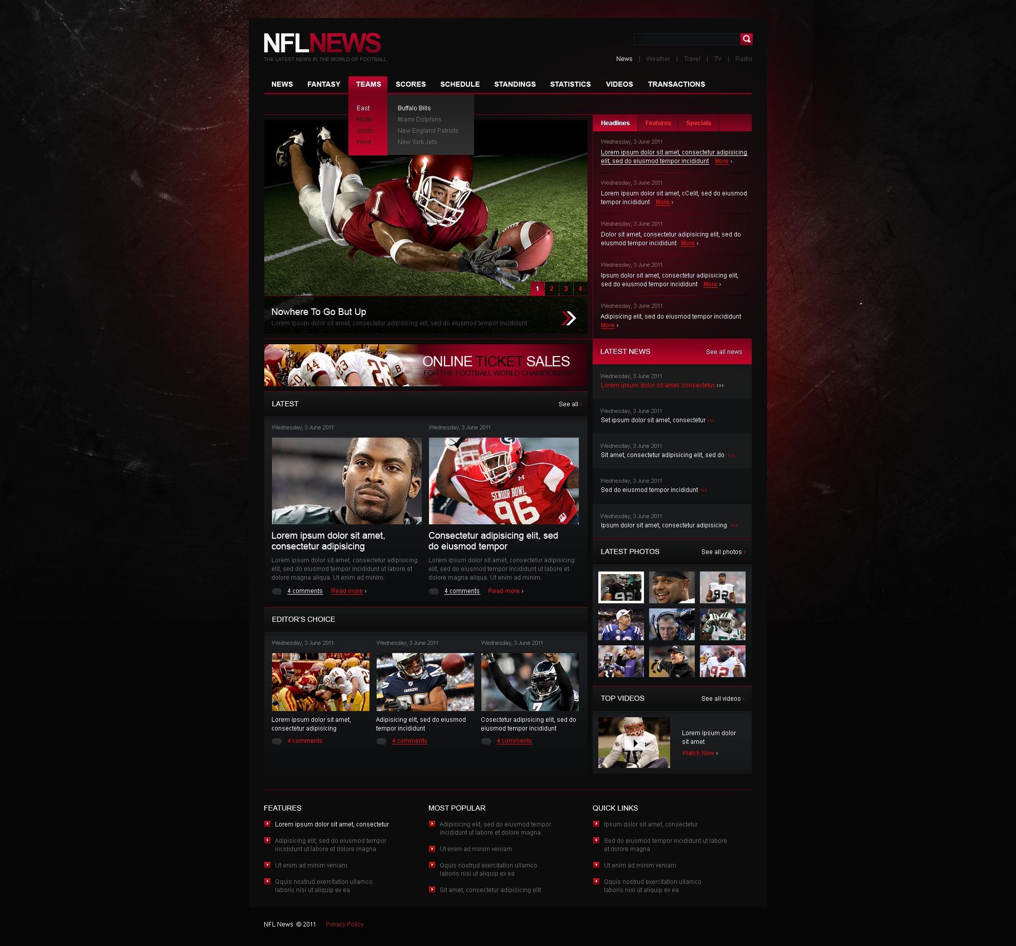 Sports News Templates Psd #37623