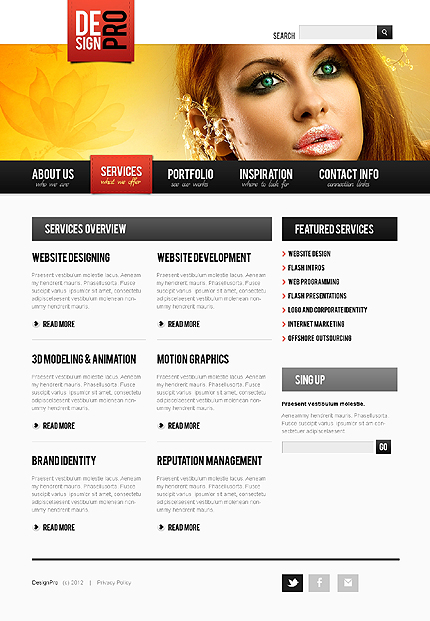Template 37705 ( Services Page ) ADOBE Photoshop Screenshot