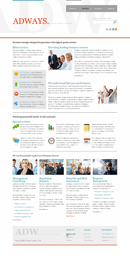 Template 37708 ( Services Page ) ADOBE Photoshop Screenshot
