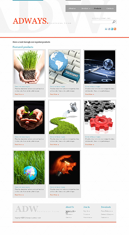 Template 37708 ( Products Page ) ADOBE Photoshop Screenshot