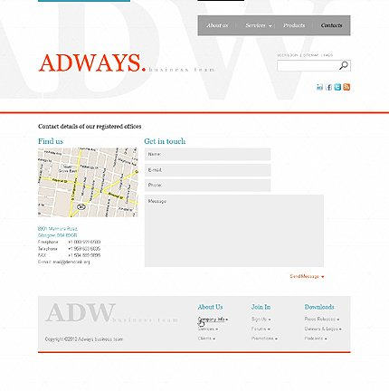Template 37708 ( Contacts Page ) ADOBE Photoshop Screenshot